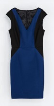 Royal blue and black dress from Zara